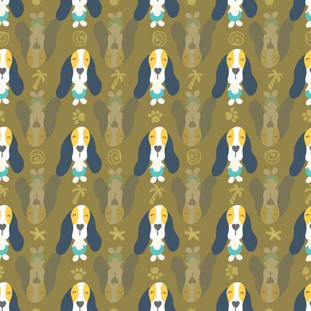 Seamless pattern of cute puppies and dogs on vacation enjoying summertime. Illustration arranged in line or stripes. Surface design. Stock Vector - 137788162