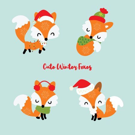 Set of four little winter foxes with Christmas lights, scarft and santa hat. Decorative elements for New year and xmas holiday. Cute collection of fox cartoon illustration.