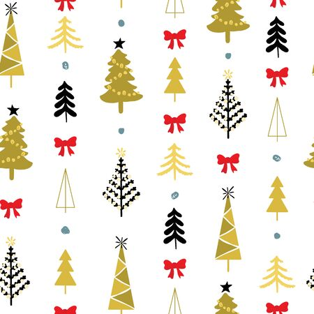 Seamless pattern with christmas trees and spruce woods coloured in gold with red ribbon and blue polka dots on white background. Surface design for textile, fabric, wallpaper, wrapping, giftwrap, paper, scrapbook and packaging.