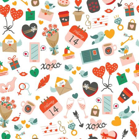 Seamless pattern with elements for valentines day celebration. Saint Valentines day motifs with cute items in romantic style and colours.