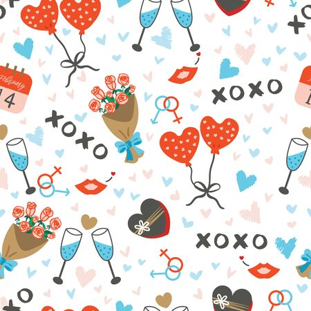 Seamless pattern with cute items on theme of lovers relationships. Saint Valentines day celebration motifs with elements in romantic style on white background.