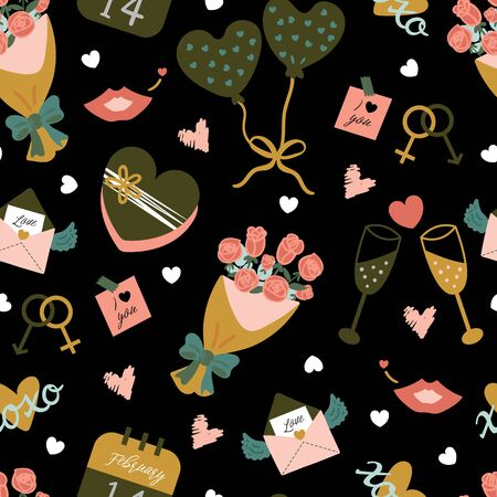 Seamless pattern with motley objects for saint valentine's day celebration on black background. Motifs with cute items in romantic style and colours. Illustration