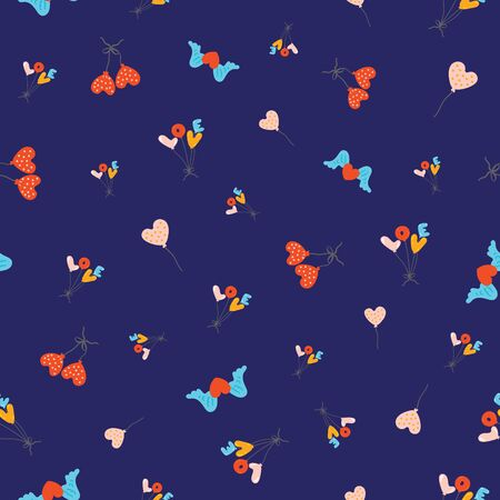 Seamless pattern with flying colourful balloons in the shape of hearts and words love shape with winged hearts and love alphapet on bright blue background. Cheerful pattern.