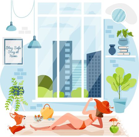 A girl is sunbathing from big window inside apartment living room during summertime. Stay at home during summer. Spend summer at home. Girl who enjoying Summer season indoor concept. Flat character illustration.