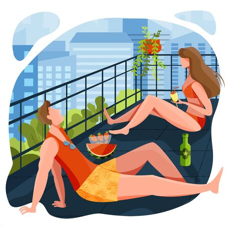 A couple enjoying summer season from balcony of apartment/ hotel room. Fun sunbathe activity indoor. Stay at home during hot and heat summer. Spend summer at home. Summer concept design for poster, banner, flyer, invitation, card, magazine