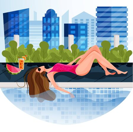 A city girl sunbathing on private rooftop pool with cityscape view. Fun sunbathe activity indoor. Stay at home during hot and heat summer. Spend summer at home. Summer concept design for poster, banner, flyer, invitation, card, magazine for Hotel or Travel or Tourism Agency.