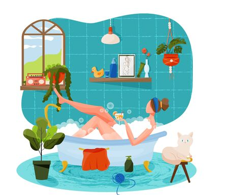 Vector illustration in flat cartoon style with girl taking bath holding a glass of cocktail. Concept of personal care, me time, time for yourself. Cozy bathroom interior with household items, skin care cosmetics, accompany by cat. Illustration