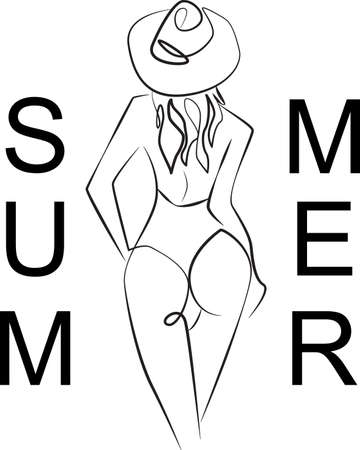 Continuous Line Drawing of Portrait of Woman with swimwear and beach hat. One Line Abstract. Minimalist drawing for Summer Holiday. Vector. Ilustración de vector