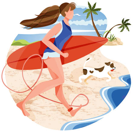 Illustration of woman running by holding surfboard with her dog to waves. Excited for outdoor activity to enjoy summer on a bright day. Summer holidays, tropical vacation, beach water activities.