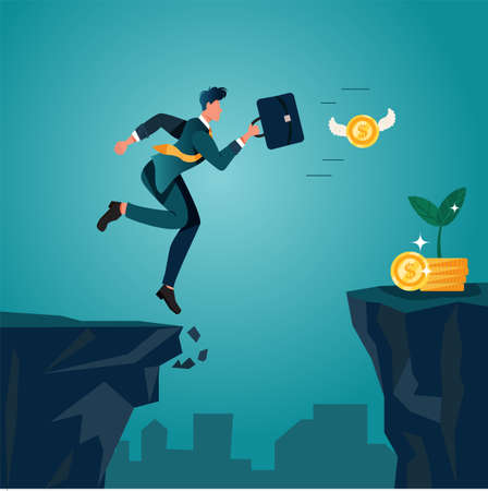An optimistic businessman jumping and running over cliffs, chasing money coins. Conceptual of taking business risk. Flat character illustration about effort to reach goals, success, and wealthiness.
