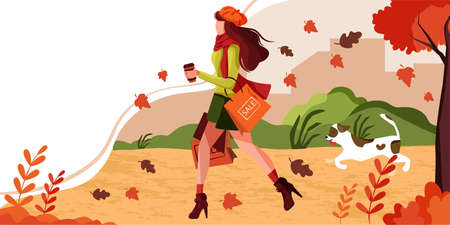 Girl walks with dog in park carry shopping bags in autumn garden with leaves falling and windy weather. Concept of banner template of Fall Season Sale for promoting discount in Mall or shop business.