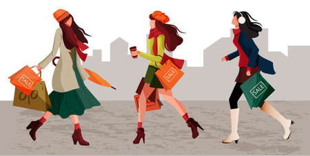 Character set of stylish women walking holding shopping bag in autumn warm outfits. Concept of pretty and fashionable young girls enjoying discounts. Great for poster, banner, flyer for Autumn Sale Discount advertisement or promotion.