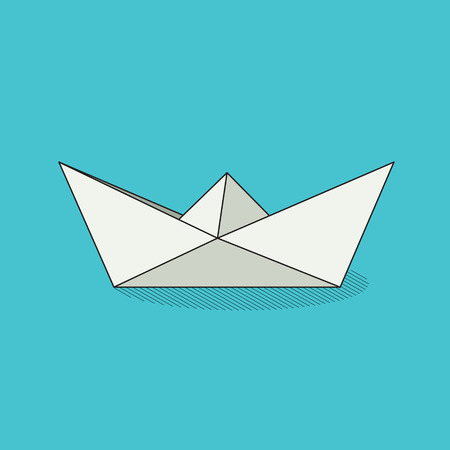 toy boat: Origami toy boat. White folded paper object on tcolorful background