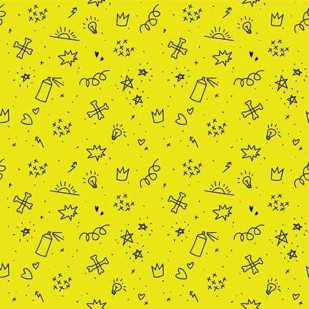 kinky: Sketchy punk images. Seamless vector pattern. Teenager theeme. Doodle Illustration