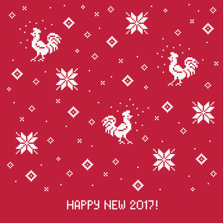 red cross red bird: Happy new 2017 year. Stylised Christmas card with rooster
