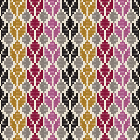 Seamless geometric multicolored native pattern. Woven rug