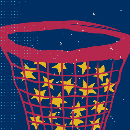 Stars in the net on the night sky. Vector illustration. Poster