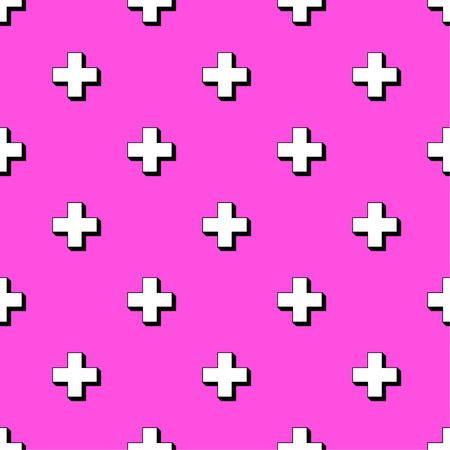 plus sign: Abstract colorful seamless pattern with plus sign. 80s style