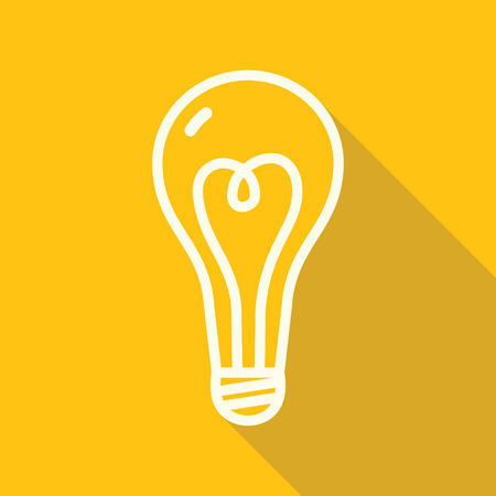 lamp outline: Outline yellow lamp icon with shadow