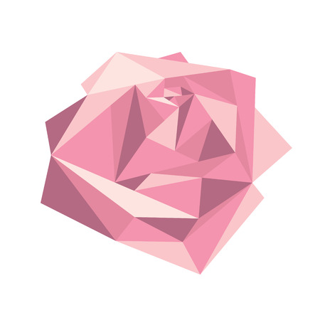 Geometric volume pink rose on white background. Card or poster