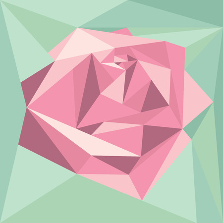 unusual valentine: Geometric abstract volume pink rose on green background. Polygonal Illustration