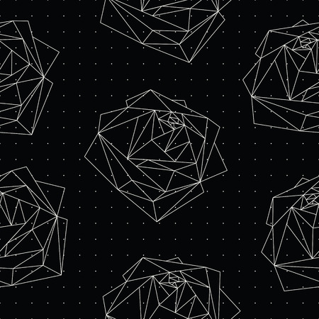 Seamless pattern with abstract geometric polygonal roses on black. Cosmic roses