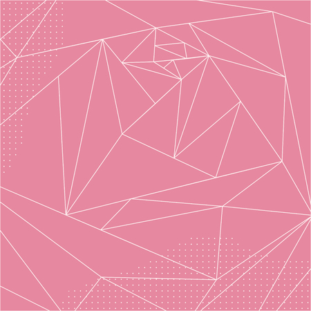 imaginary line: Abstract Geometric polygonal pink rose. Outline