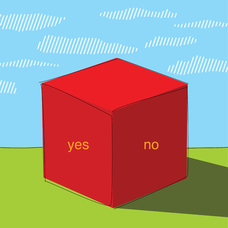 ruling: Big red cube on green grass. Poster or cover. Illustration