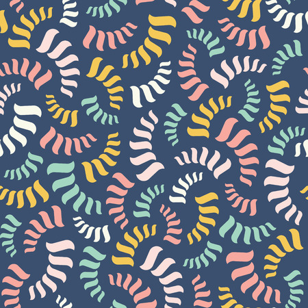 Vector seamless abstract pattern. Colorful spirals or threads or rope Illustration