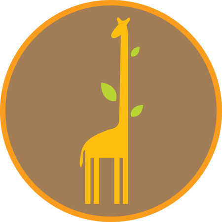 long neck: Funny giraffe with long neck and leaves. Illustration