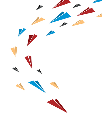 leading the way: Flying together multicolor origami paper planes. Poster, cover or banner