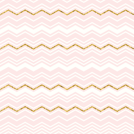 Abstract geometric seamless pattern with chevron. Gold glitter. Vector illustration