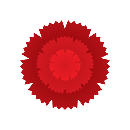 raceme: Red carnation flower icon. Geometric graphic symbol