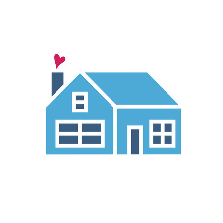 small group of objects: House icon with heart. Simple vector illustration
