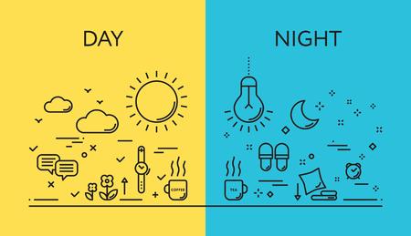 Conjunto de conceitos de ilustração vetorial moderna de dias e de noite. Design de linha plana