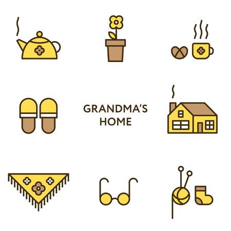 chimney pot: Grandmothers home. Set of flat line icons. Modern design. Stock Photo