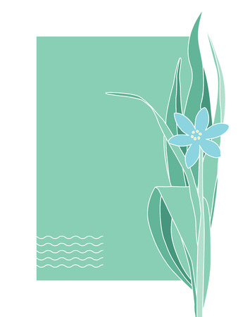post card: Greeting or post card with blue flower. Place for your text Illustration