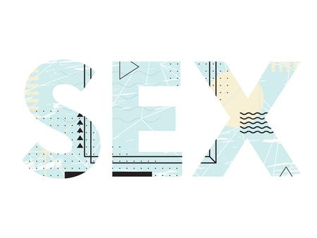 Abstract creative typography of word sex. Lettering Vektoros illusztráció