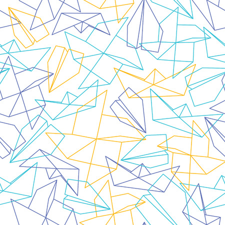 paper forms: Line seamless pattern with origami paper forms. Vector background Stock Photo