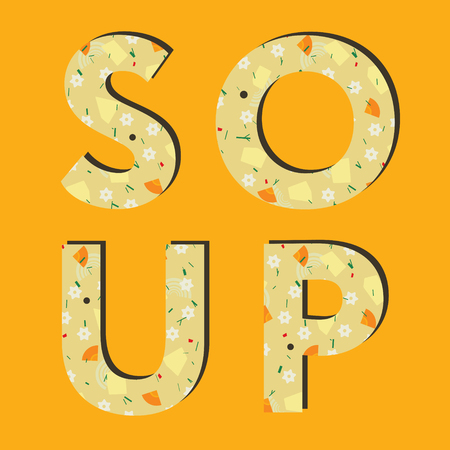 broth: Creative typography of word soup. Lettering. Noodle and vegetable soup Illustration