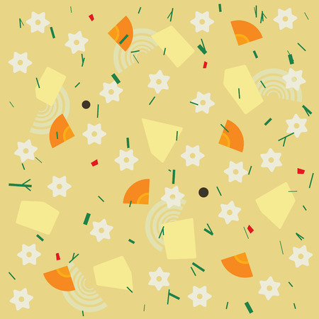 broth: Noodle and vegetable soup seamless pattern. Vector illustration
