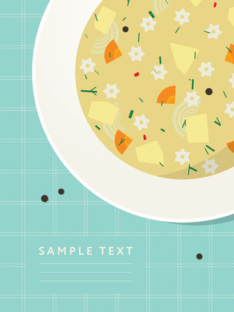 noodle soup: Plate with noodle and vegetable soup on the table. Menu or recipe template