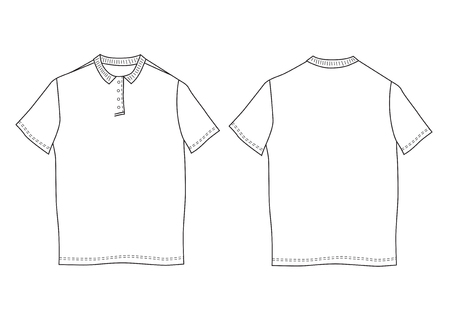 button up shirt: Vector illustration polo shirt template. Front and back views. Short sleeve Illustration