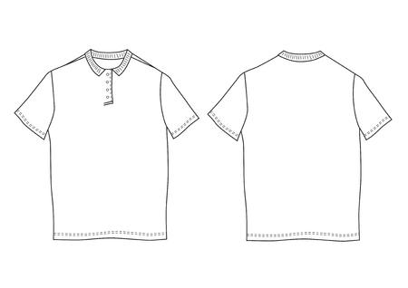 Vektor-Illustration Polo-Shirt-Vorlage. Vorder- Und Rückseite Blick ...