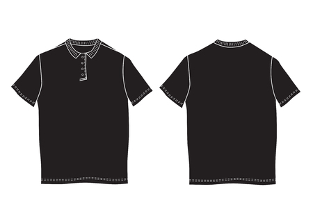 button up shirt: Vector illustration polo shirt template. Front and back views. Short sleeve Stock Photo