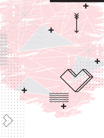 Abstract geometric pink background. Love theme. Design elements