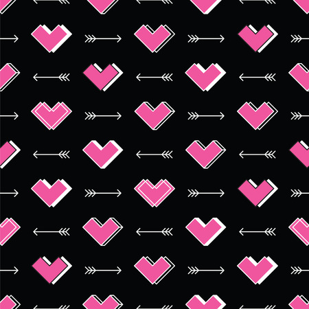 Boxy hearts and arrows seamless pattern. Robot in love Illustration