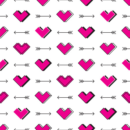 Boxy hearts and arrows seamless pattern. Robot in love Ilustrace
