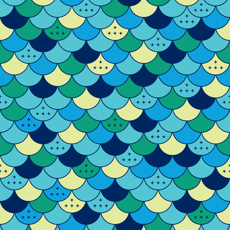 fish scale: Colorfull semicircles abstract seamless pattern. Tile or fish scale Stock Photo