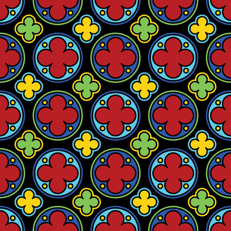 Medieval stained glass gothic seamless pattern. Vector illustration